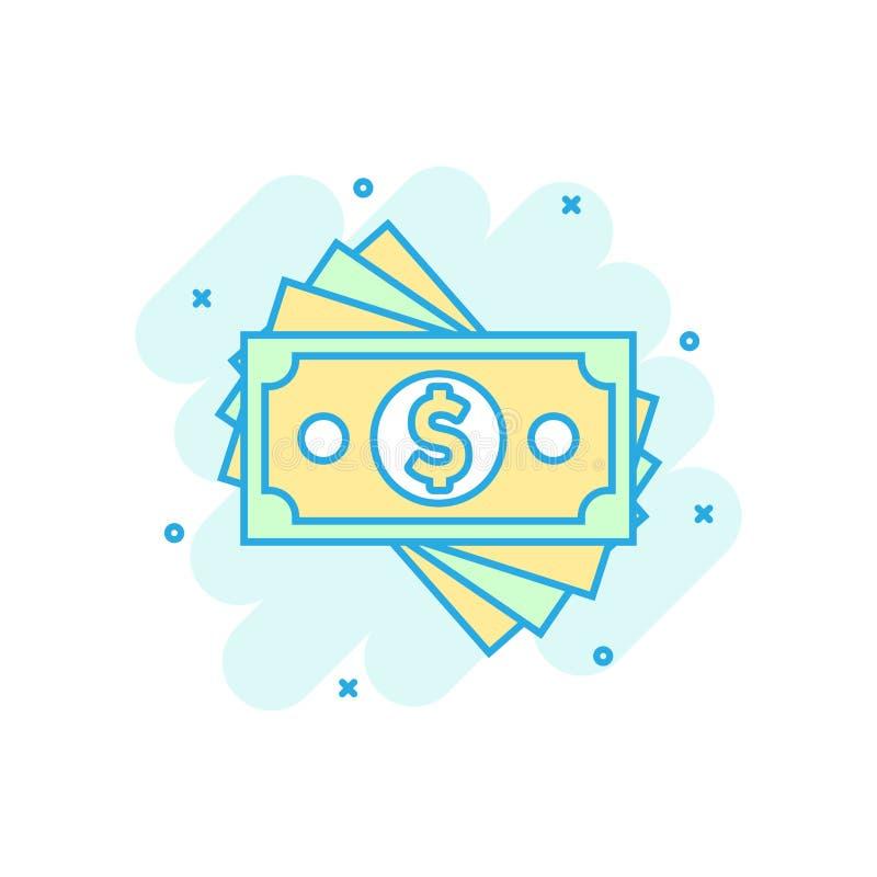 Icono del billete de banco de la moneda del dólar en estilo cómico Pictograma del ejemplo de la historieta del vector del efectiv libre illustration