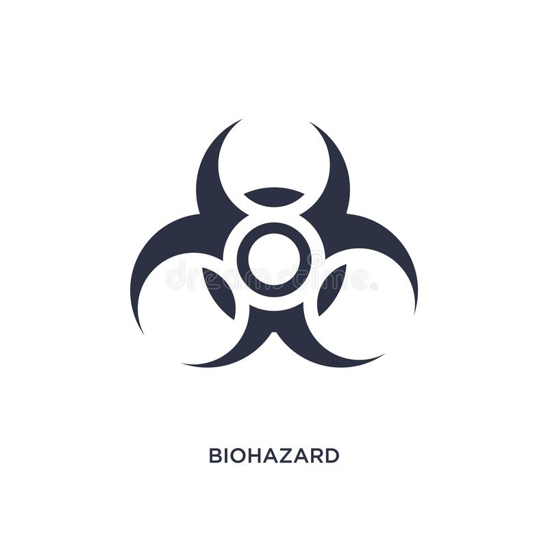 icono del biohazard en el fondo blanco Ejemplo simple del elemento del concepto de la química ilustración del vector