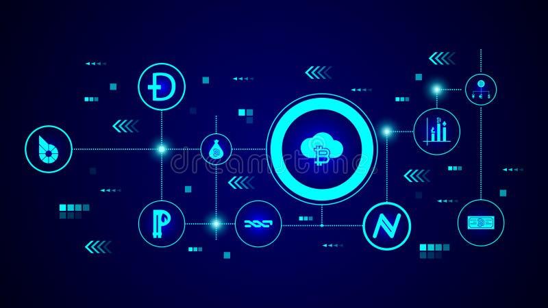 icono del bitcoin de la nube De sistema crypto ilustración del vector