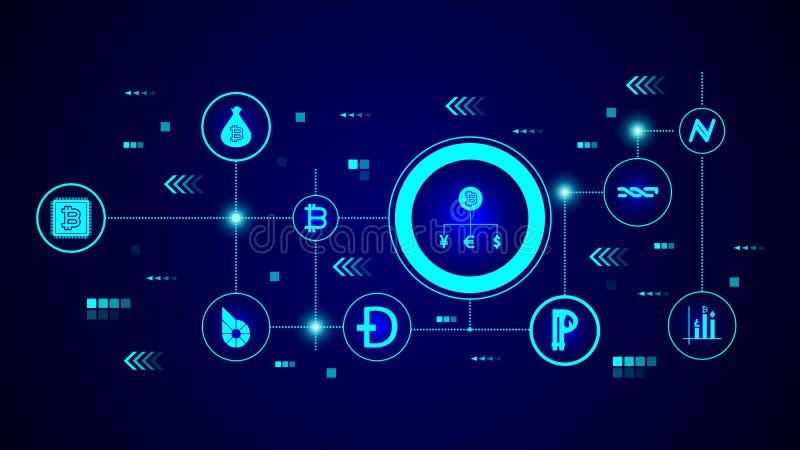 icono del bitcoin del intercambio De sistema crypto ilustración del vector