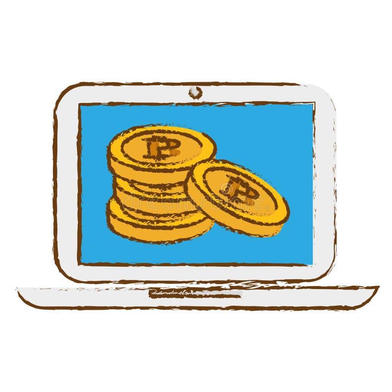 icono del bitcoin, símbolo del dinero en línea ilustración del vector