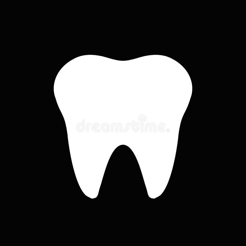 Icono del blanco del negro del logotipo del diente ilustración del vector