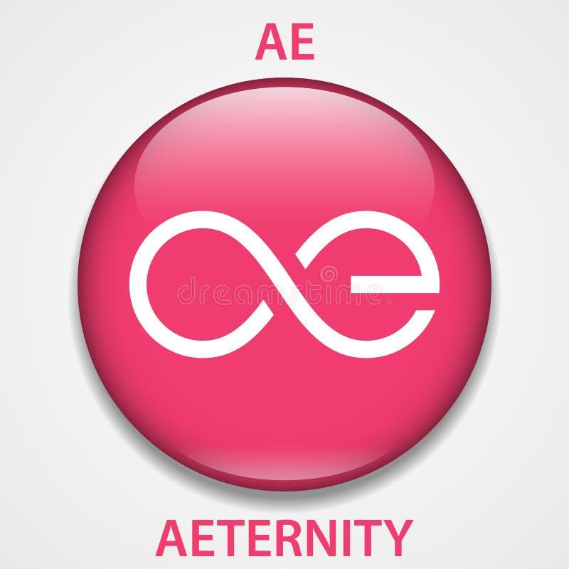 Icono del blockchain del cryptocurrency de la moneda de Aeternity Dinero electrónico, de Internet virtual o símbolo del cryptocoi stock de ilustración