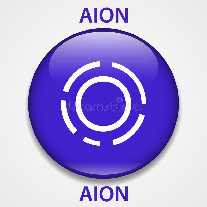 Icono del blockchain del cryptocurrency de la moneda de Aion Dinero electrónico, de Internet virtual o símbolo del cryptocoin, lo stock de ilustración