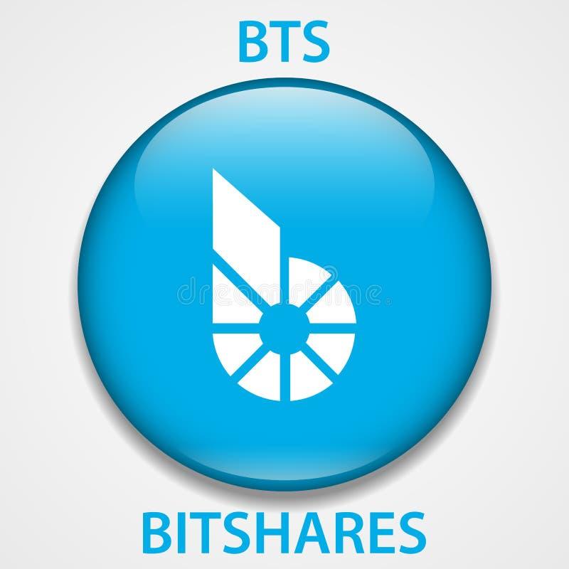 Icono del blockchain del cryptocurrency de la moneda de Bitshares Dinero electrónico, de Internet virtual o símbolo del cryptocoi stock de ilustración