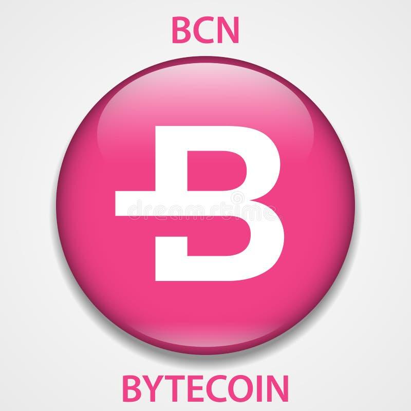 Icono del blockchain del cryptocurrency de la moneda de Bytecoin Dinero electrónico, de Internet virtual o símbolo del cryptocoin ilustración del vector