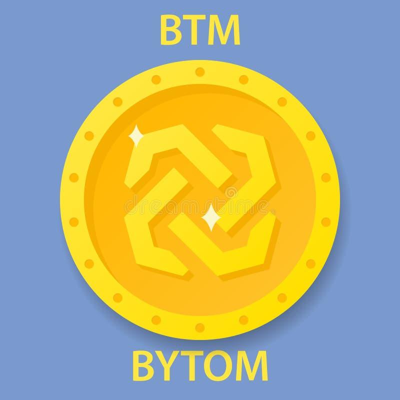 Icono del blockchain del cryptocurrency de la moneda de Bytom Dinero electrónico, de Internet virtual o símbolo del cryptocoin, l stock de ilustración