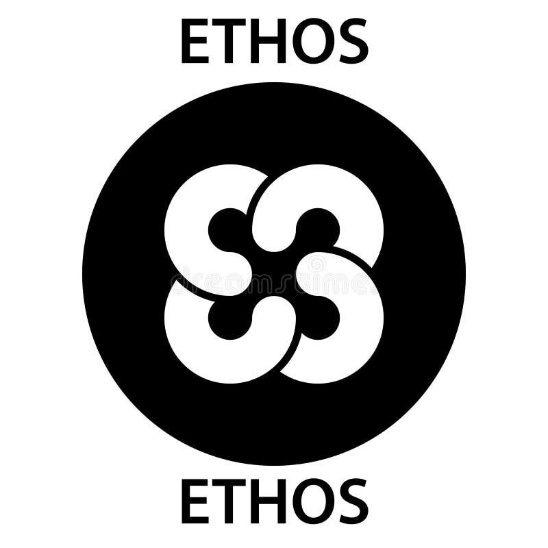 Icono del blockchain del cryptocurrency de la moneda del carácter Dinero electrónico, de Internet virtual o símbolo del cryptocoi stock de ilustración