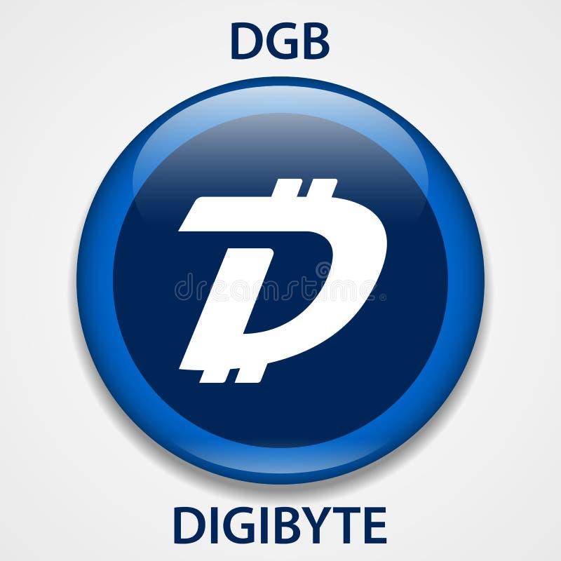 Icono del blockchain del cryptocurrency de la moneda de Digibyte Dinero electrónico, de Internet virtual o símbolo del cryptocoin ilustración del vector