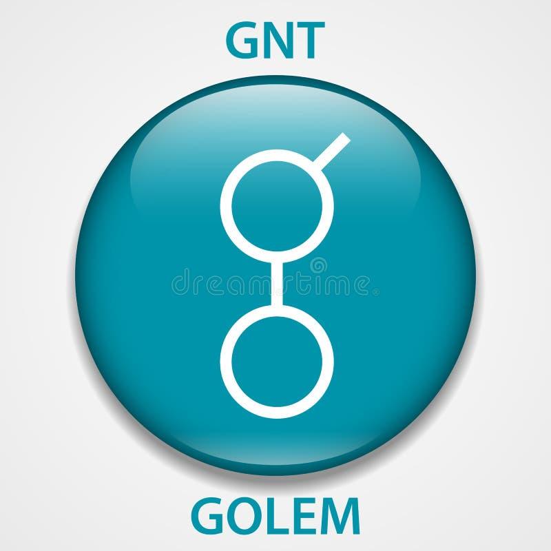 Icono del blockchain del cryptocurrency de la moneda del Golem Dinero electrónico, de Internet virtual o símbolo del cryptocoin,  ilustración del vector