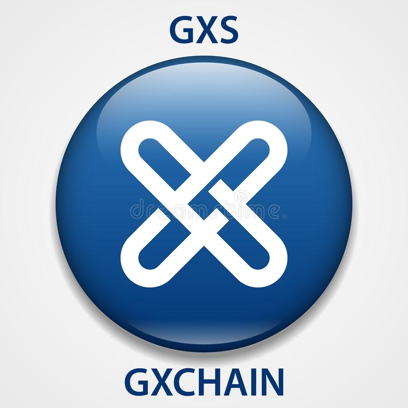 Icono del blockchain del cryptocurrency de la moneda de GXCHAIN Dinero electrónico, de Internet virtual o símbolo del cryptocoin, stock de ilustración