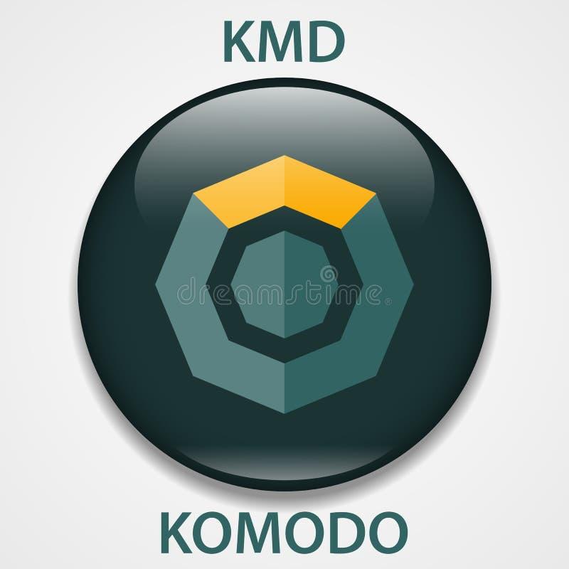 Icono del blockchain del cryptocurrency de la moneda de Komodo Dinero electrónico, de Internet virtual o símbolo del cryptocoin,  libre illustration