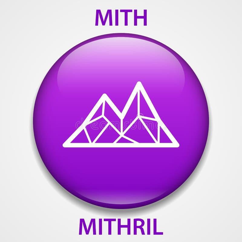 Icono del blockchain del cryptocurrency de la moneda de MITHRIL Dinero electrónico, de Internet virtual o símbolo del cryptocoin, stock de ilustración