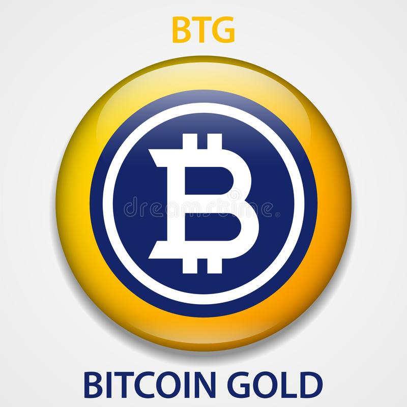 Icono del blockchain del cryptocurrency de la moneda de oro de Bitcoin Dinero electrónico, de Internet virtual o símbolo del cryp ilustración del vector