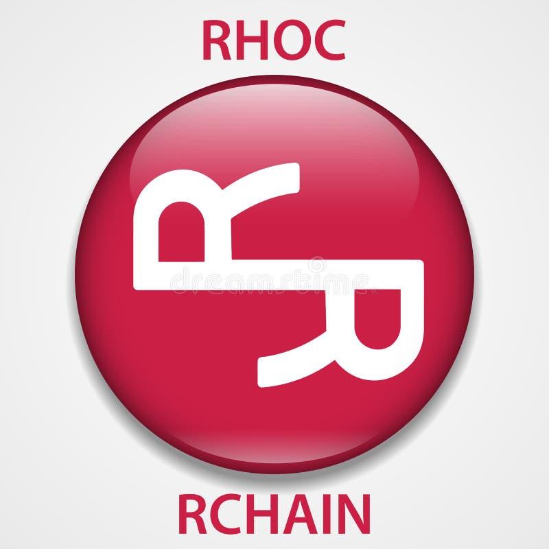 Icono del blockchain del cryptocurrency de la moneda de Rchain Dinero electrónico, de Internet virtual o símbolo del cryptocoin,  stock de ilustración