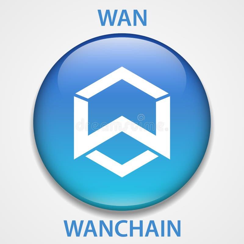 Icono del blockchain del cryptocurrency de la moneda de WanChain Dinero electrónico, de Internet virtual o símbolo del cryptocoin ilustración del vector
