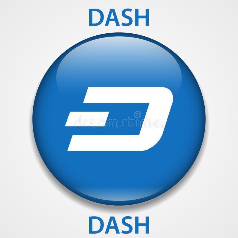 Icono del blockchain del cryptocurrency de la ROCIADA Dinero electrónico, de Internet virtual o símbolo del cryptocoin, logotipo ilustración del vector