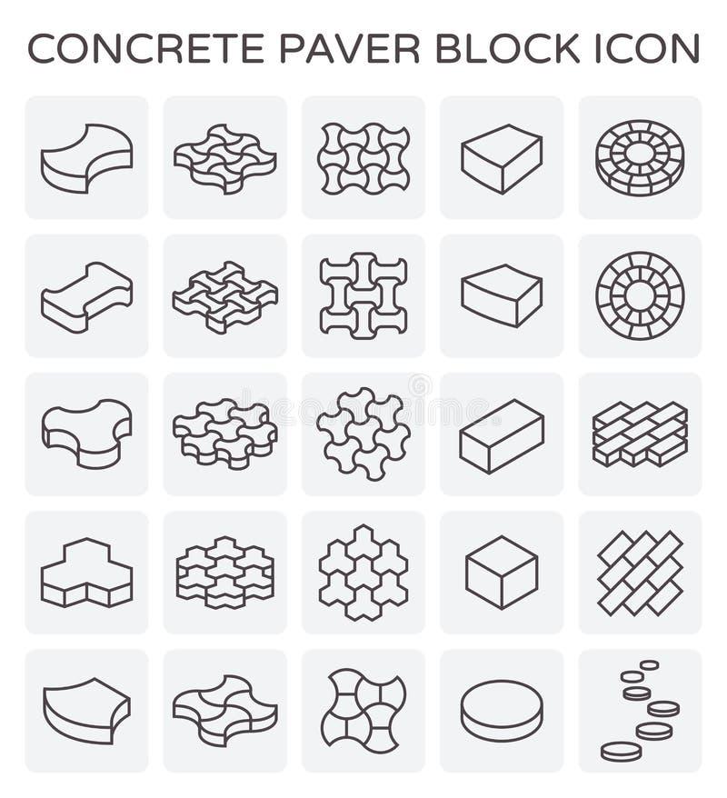 Icono del bloque de la pavimentadora stock de ilustración