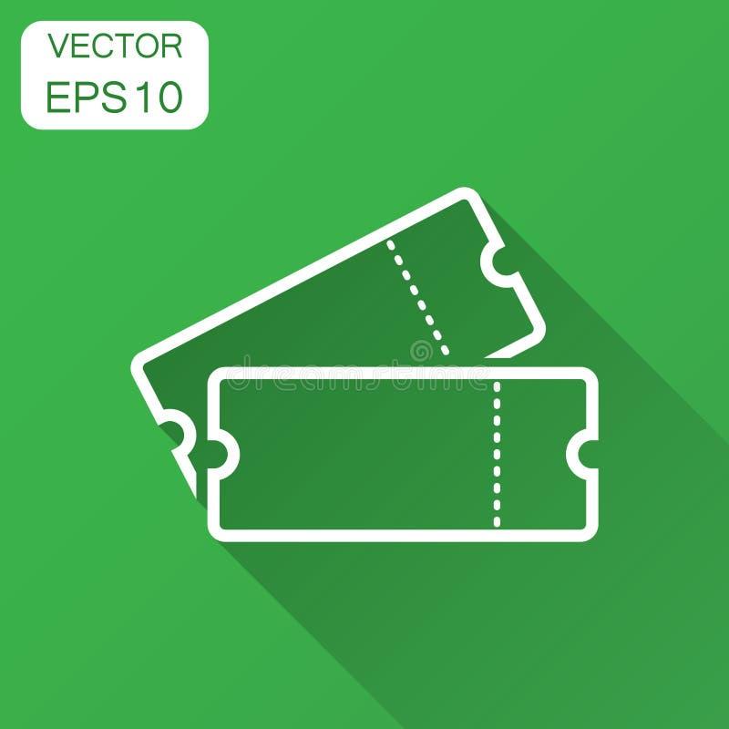 Icono del boleto del cine en estilo plano Admita un vect de la entrada de la cupón ilustración del vector