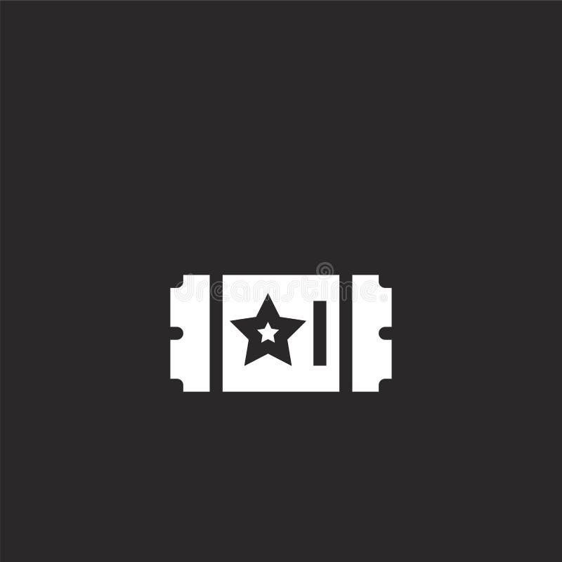 Icono del boleto Icono llenado del boleto para el diseño y el móvil, desarrollo de la página web del app icono del boleto de la c stock de ilustración