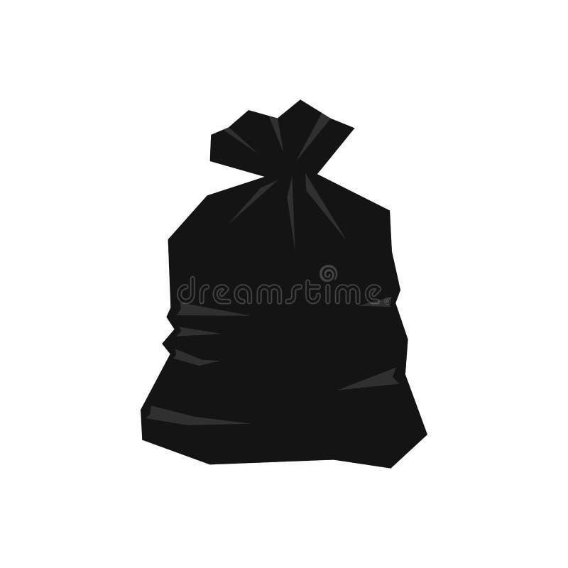 Icono del bolso de basura, estilo plano stock de ilustración