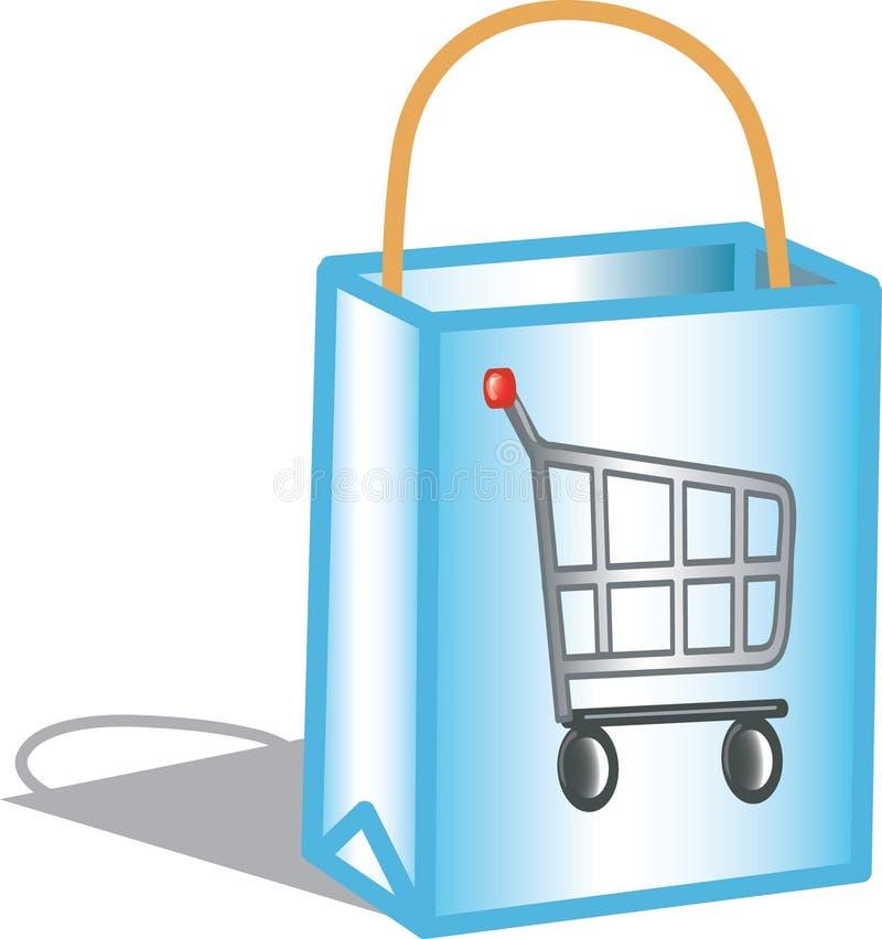 Icono del bolso de compras stock de ilustración