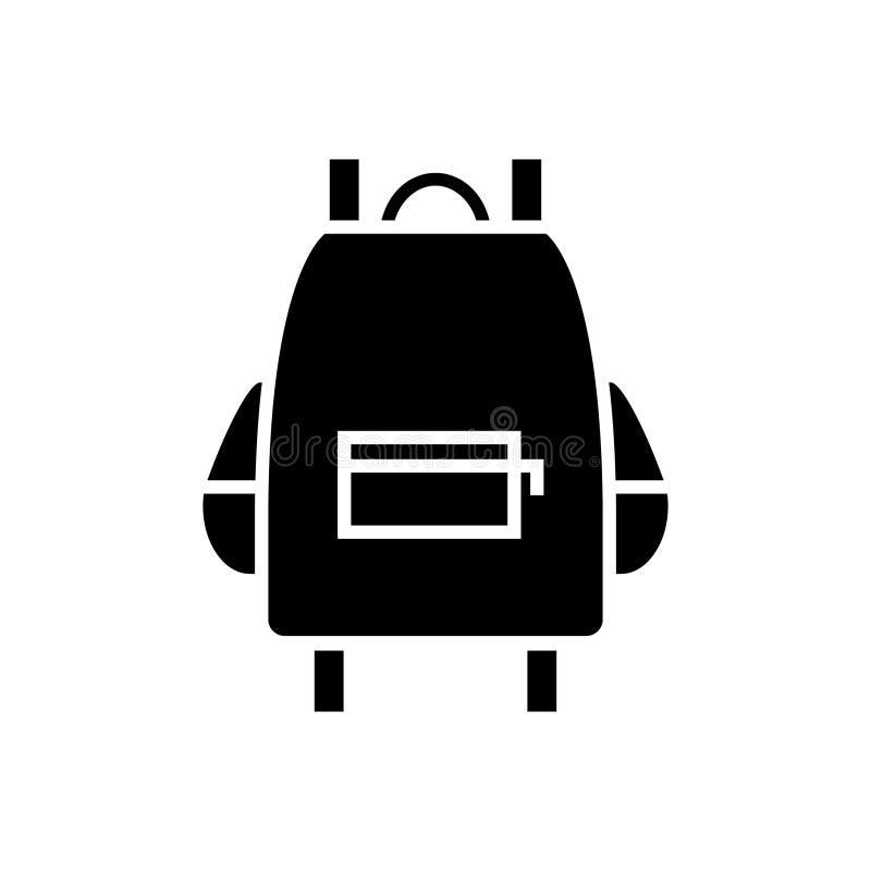 Icono del bolso de escuela, ejemplo del vector, muestra negra en fondo aislado libre illustration