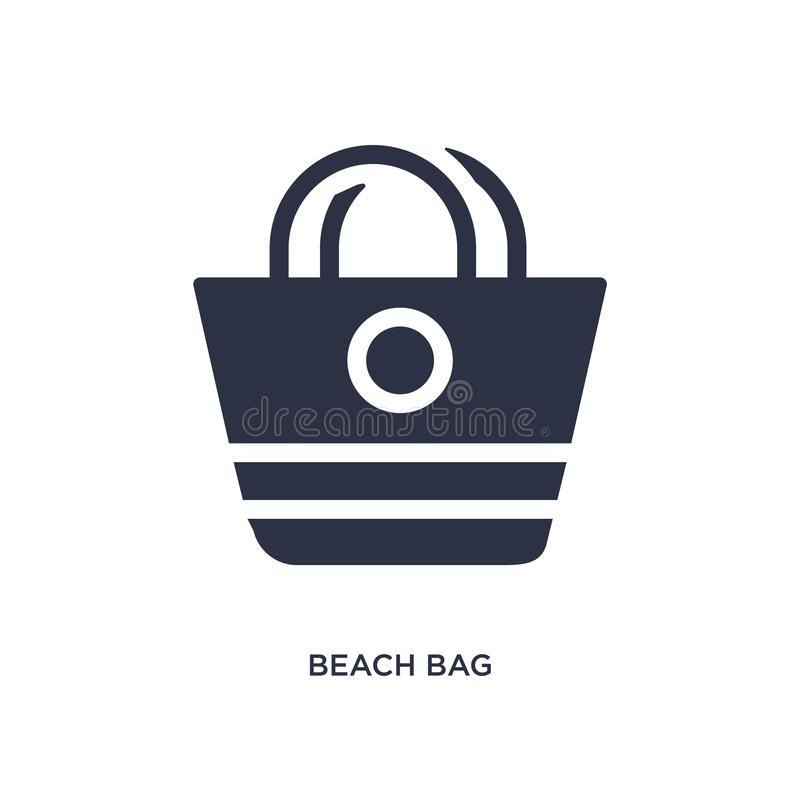 icono del bolso de la playa en el fondo blanco Ejemplo simple del elemento del concepto del verano ilustración del vector