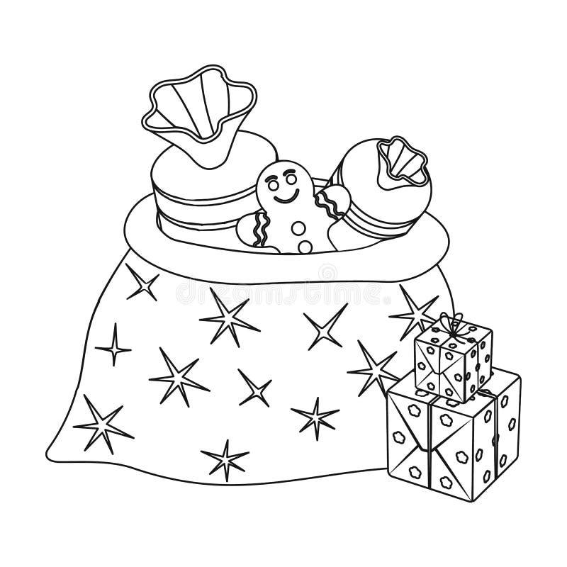 Icono del bolso del regalo de la Navidad solo en el estilo del esquema para el diseño Web del ejemplo de la acción del símbolo de ilustración del vector