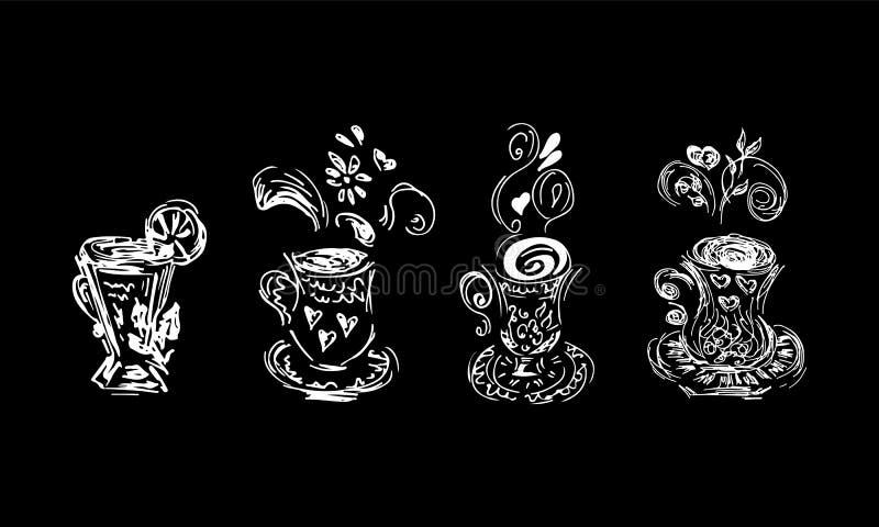 Icono del bosquejo con la colección del sistema de las tazas de té Sistema blanco abstracto en un contexto negro ejemplo abstract ilustración del vector