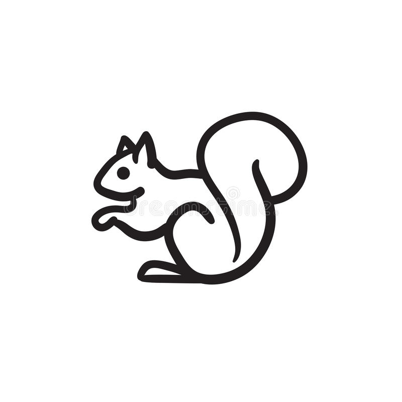Icono del bosquejo de la ardilla stock de ilustración