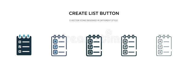Icono del botón Crear lista en una ilustración vectorial de estilo diferente dos iconos vectoriales de botones de creación de lis stock de ilustración