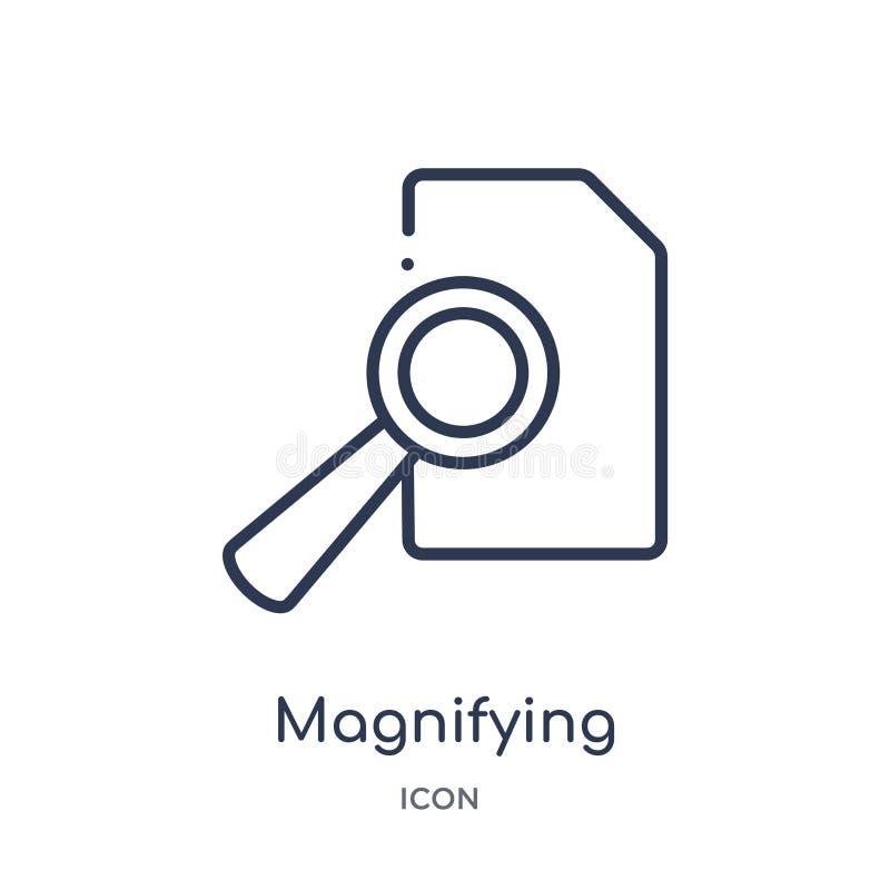 icono del botón de la búsqueda de la lupa de la colección del esquema de la interfaz de usuario La línea fina icono del botón de  stock de ilustración