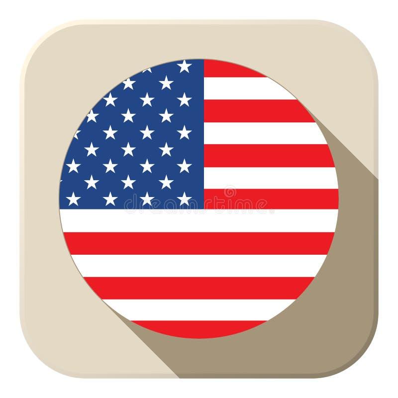 Icono del botón de la bandera de los E.E.U.U. moderno stock de ilustración