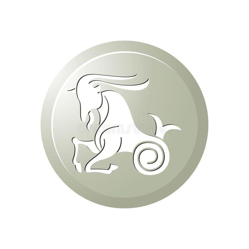Icono del botón de la muestra del zodiaco del Capricornio aislado en blanco libre illustration