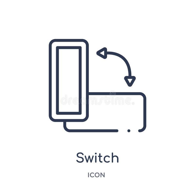 icono del botón de la orientación del interruptor de la colección del esquema de la interfaz de usuario Línea fina icono del botó stock de ilustración