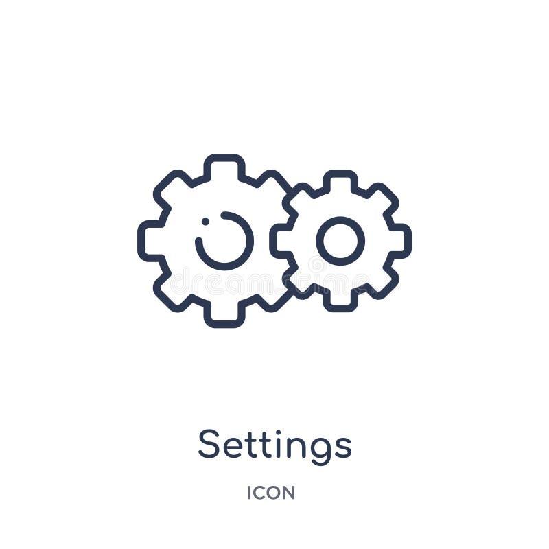 icono del botón de la rueda dentada de los ajustes de la colección del esquema de la interfaz de usuario Línea fina icono del bot libre illustration