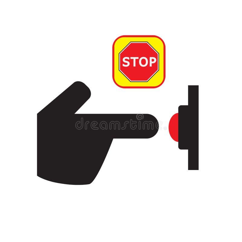 Icono del botón de paro de la prensa Icono de la mano una parada del tecleo stock de ilustración