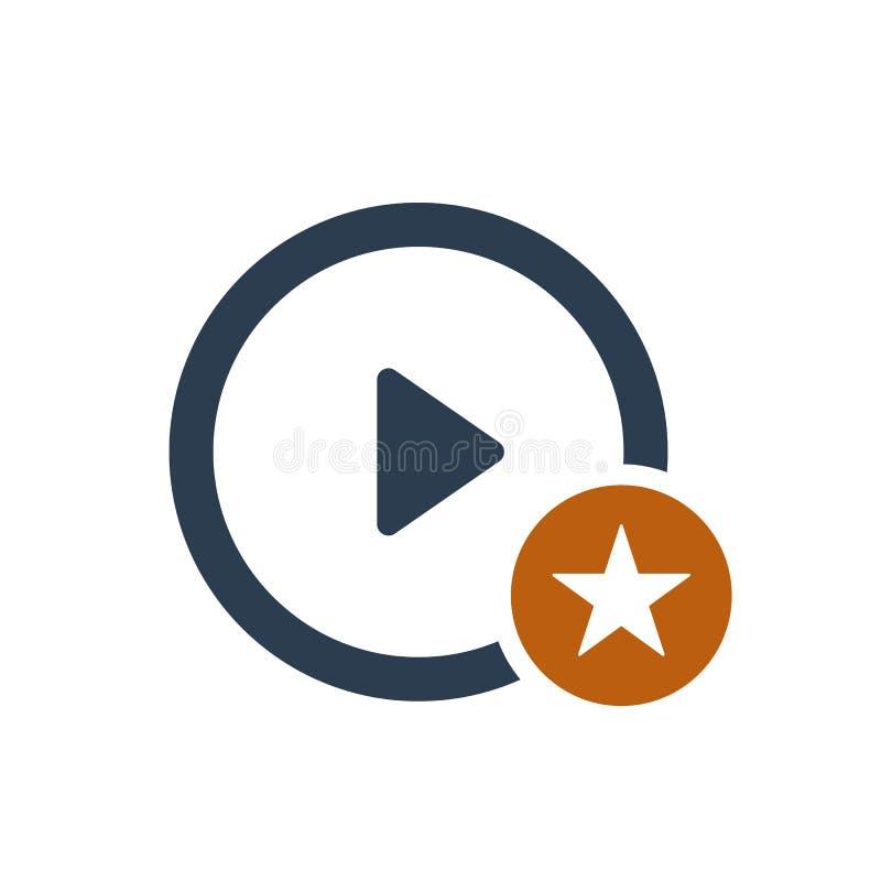 Icono del botón de reproducción con la muestra de la estrella Icono del botón de reproducción y el símbolo mejor, preferido, de c ilustración del vector
