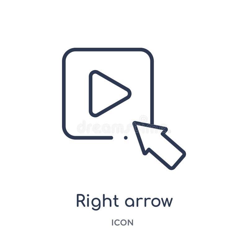 icono del botón de reproducción de la flecha derecha de la colección del esquema de la interfaz de usuario Línea fina icono del b libre illustration