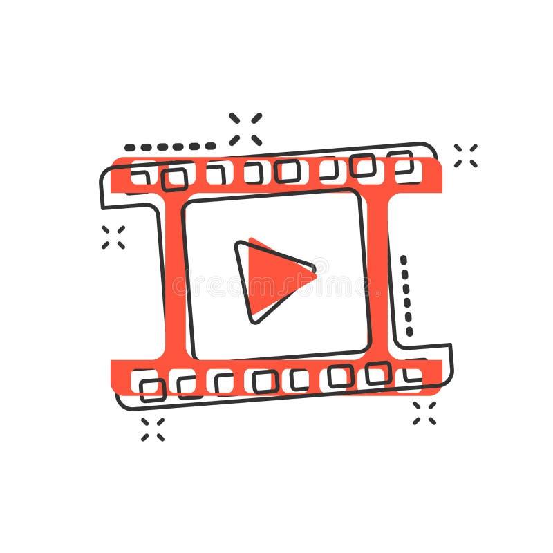 Icono del botón de reproducción de la historieta del vector en estilo cómico Muestra del vídeo del juego libre illustration