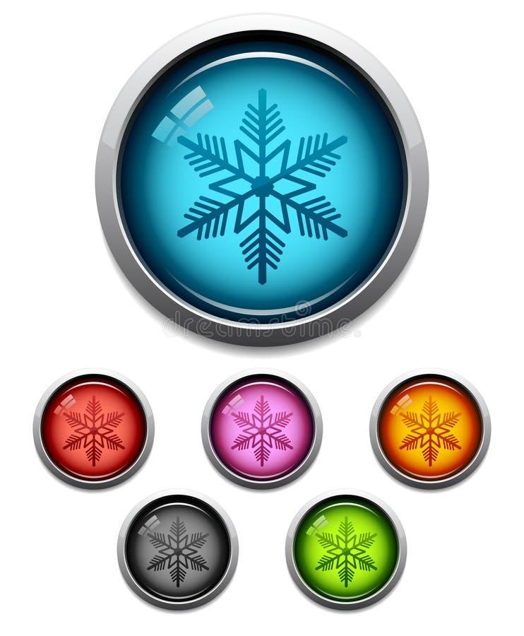 Icono del botón del copo de nieve ilustración del vector