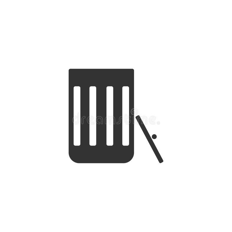 Icono del bote de basura plano stock de ilustración