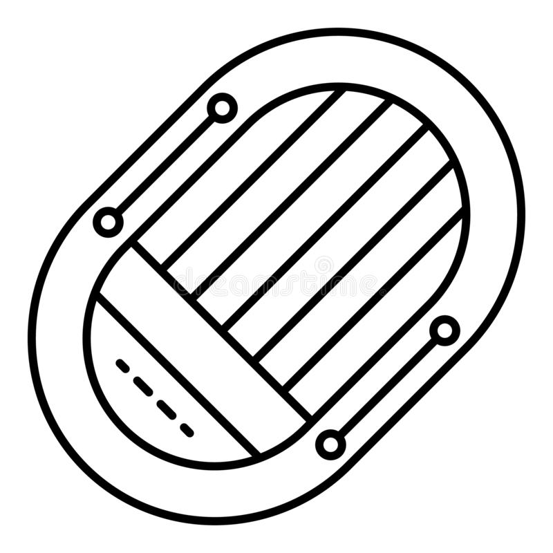Icono del bote de salvamento, estilo del esquema stock de ilustración