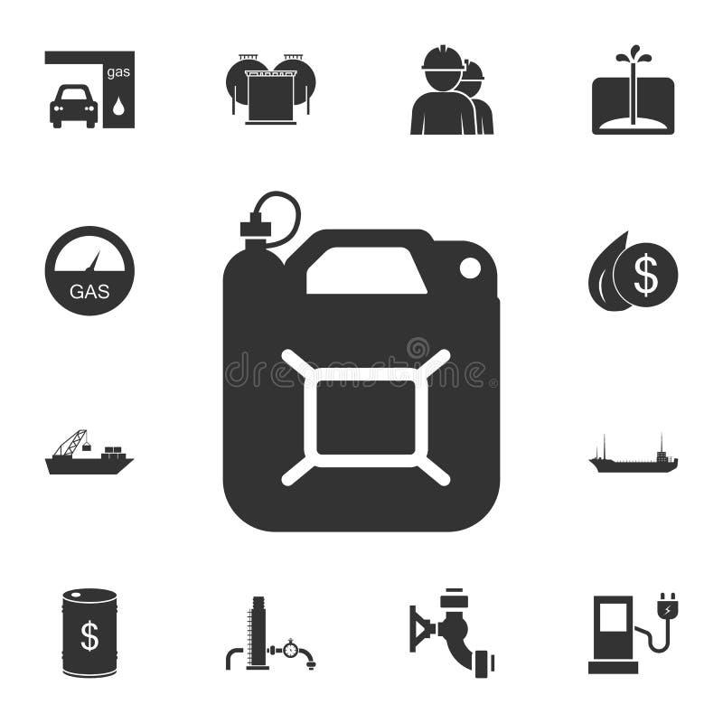 Icono del bote del gas Ejemplo simple del elemento Diseño del símbolo del bote del gas del sistema de la colección de la gasolina stock de ilustración