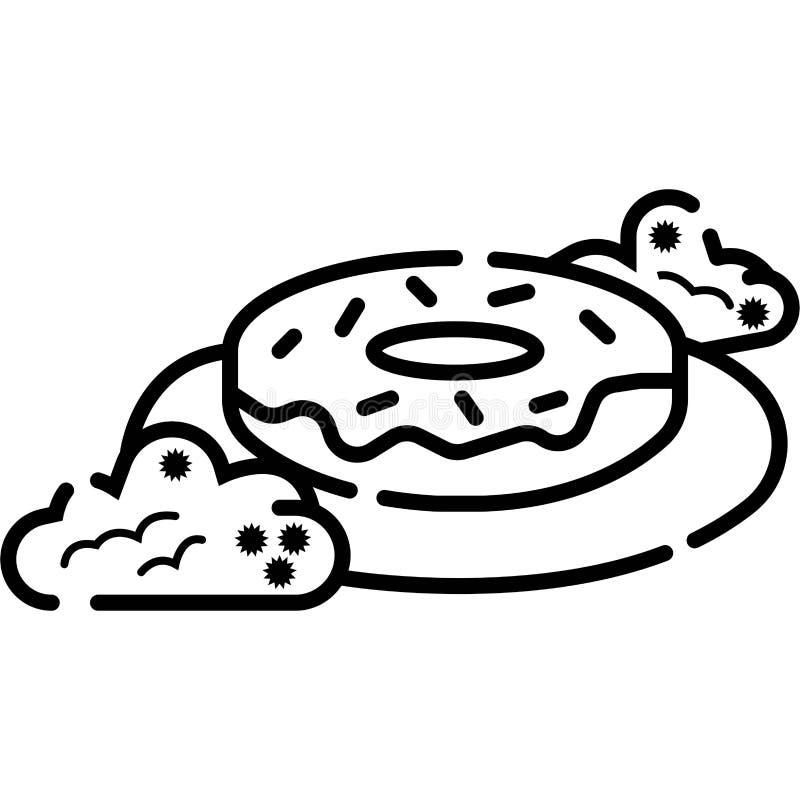 Icono del bu?uelo - bocado de la torta o del postre - icono de los pasteles de la panader?a stock de ilustración