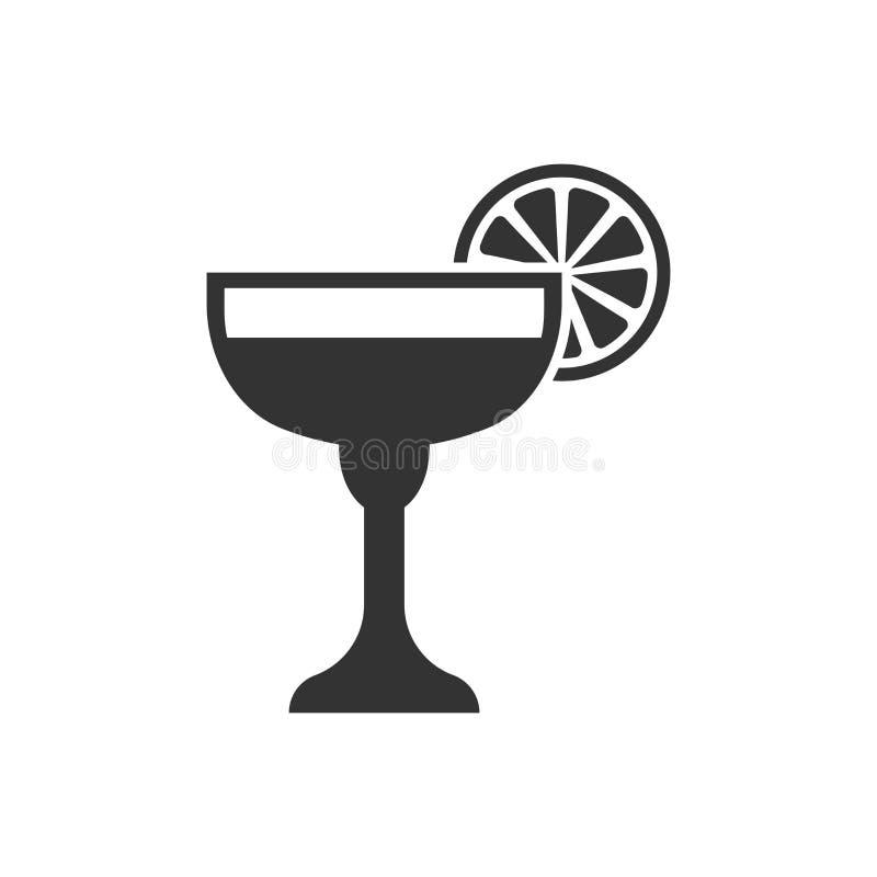 Icono del cóctel del alcohol en estilo plano Ejemplo de cristal del vector de la bebida en el fondo aislado blanco Concepto líqui ilustración del vector