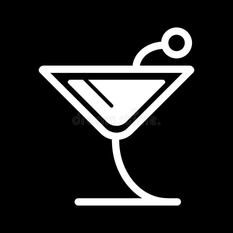 Icono del cóctel Ejemplo del vector en fondo negro ilustración del vector