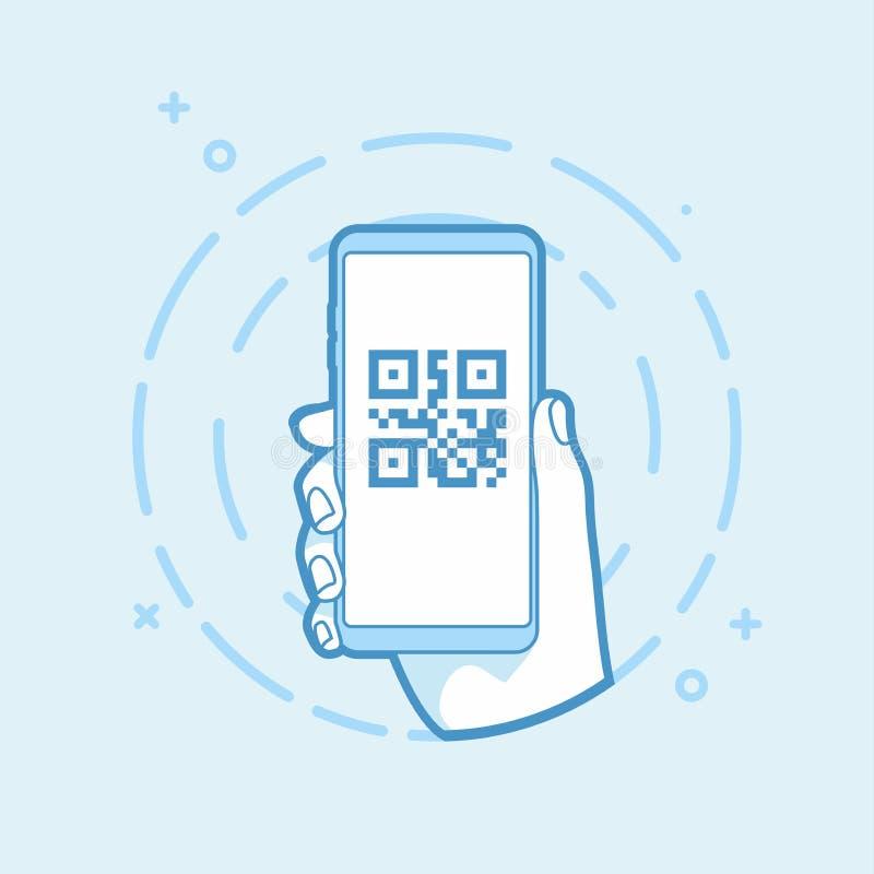 Icono del código de QR en la pantalla del smartphone Smartphone de la explotación agrícola de la mano Objeto moderno del esquema ilustración del vector