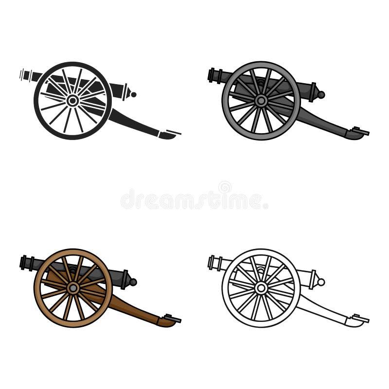 Icono del cañón en estilo de la historieta aislado en el fondo blanco Ejemplo del vector de la acción del símbolo del museo libre illustration